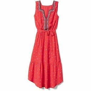 Gap red midi dress embroidered S